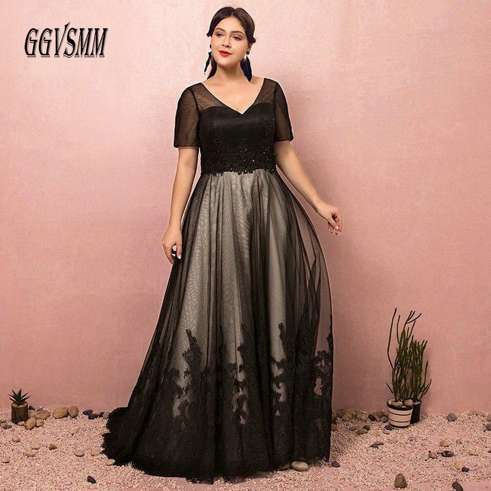 Fashion Black Plus Size Evening Dresses Long 2019 Formal Evening Gowns V  Neck Tulle Appliques Women ...