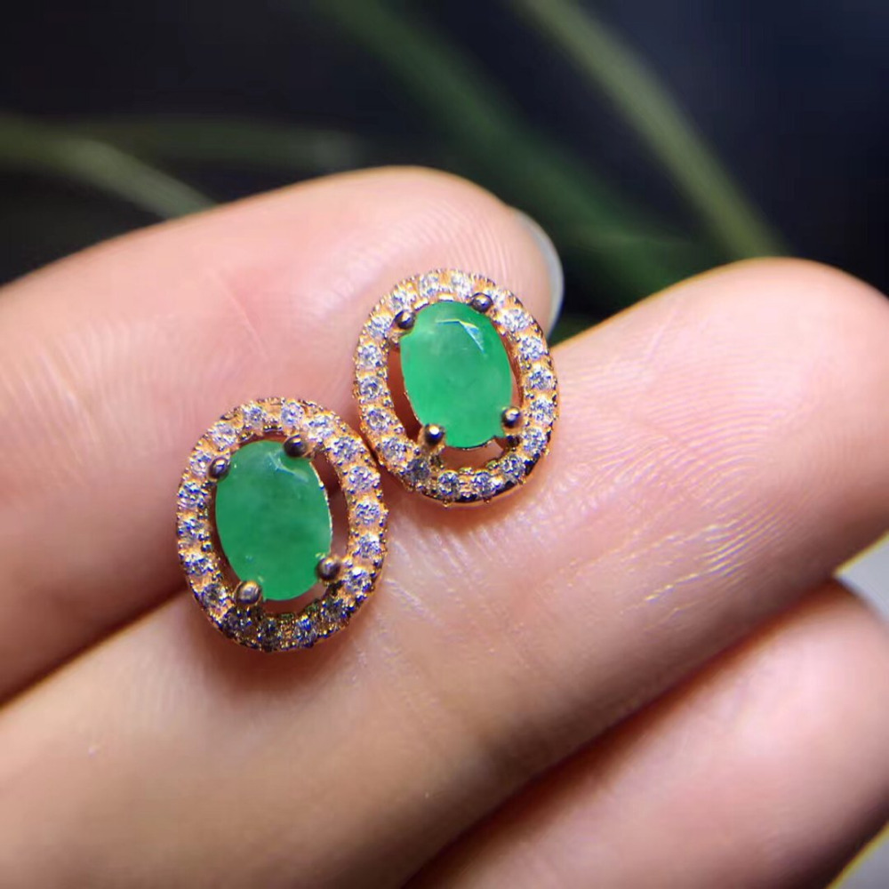 2017 Rushed Qi Xuan_Fashion Jewelry_Colombia Green Stone Oval Earrings_Rose Gold Color Green Earrings_Factory Directly Sales 2017 rushed qi xuan red stone bangles