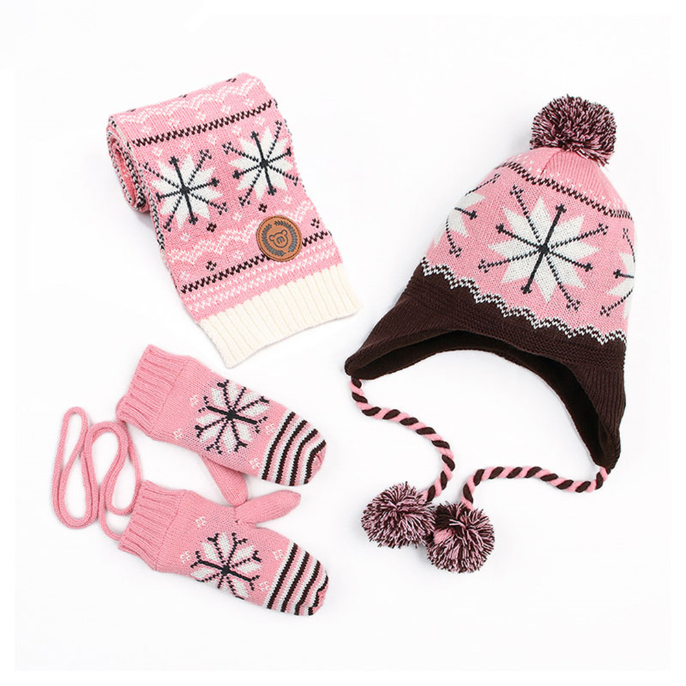Autumn Baby Girls Hat Scarf Gloves Sets Fashion Snowflake Knitted Beanie Hat Scarves Mittens for Boys Winter Warm Children Suits bomhcs fashion warm winter knitted earflap beanie women s handmade hemp flowers hat