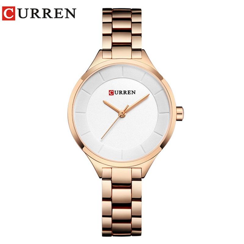 Curren Women Watches 2018 Luxury Gold White Full Steel Dress Jewelry Quartz Watch Ladies Fashion Elegant Clock Relogio Feminino цена
