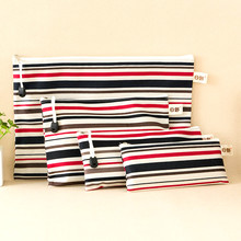 Hino Korea style file bag zipper stripe stationery bag canvas bag A4/ A5/A6 pencil case