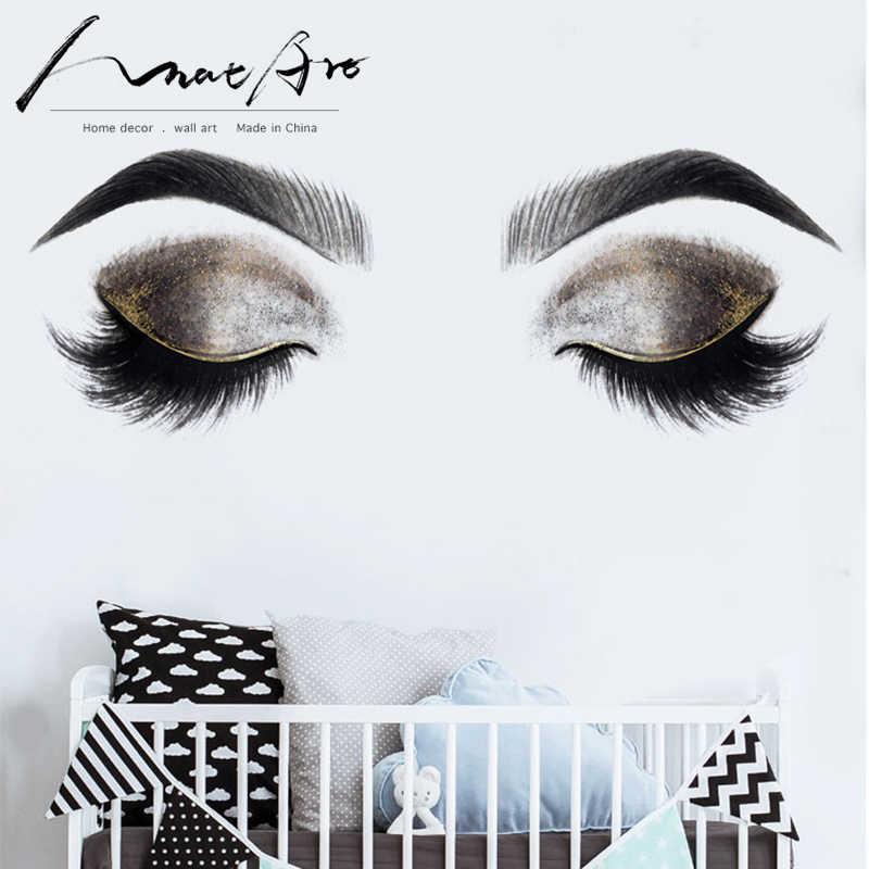 الأزياء ملصقات جدار العين اللوحة الأسود والأبيض الذهب المنزل ديكور جدار الفن فتاة غرفة الديكور جدارية غرفة نوم خلفية ديكور