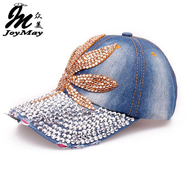 O Envio gratuito de Qualidade Superior Tampão Ajustável Lazer Moda Pedrinhas Maple Leaf Jean Snapback BONÉS de Beisebol Para As Mulheres B046