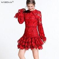 Wreeima дизайнер слоев вечернее платье с оборками взлетно посадочной полосы Для женщин Flare рукавом Цветочные выдалбливают платье Винтаж О обра