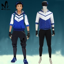 Pokemon Go cosplay costume game Pokemon GO men Trainer blue suit with hat hoodie shirt Carnival costumes for adult men