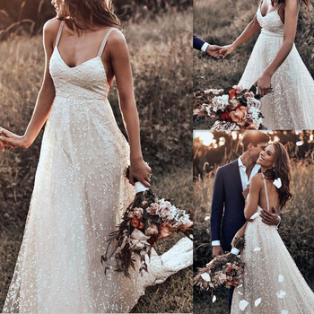 Charming Full Beading Wedding Dress with Spaghetti Straps  Backless Sweep Train A-line Bridal Dress