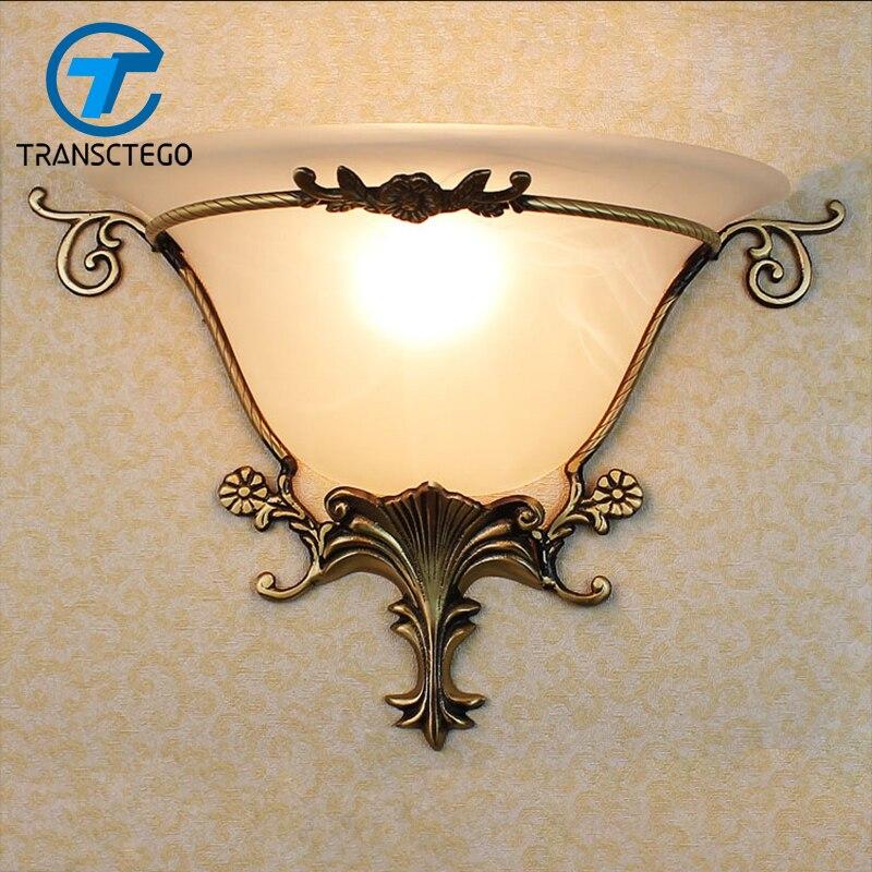 European style Copper LED Wall Lamp Corridor Aisle Bedroom Wall Lamps