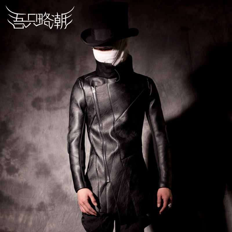 HOT 2018 winter casual men slim top outerwear asymmetrical plus velvet punk motorcycle leather clothing singer costumes