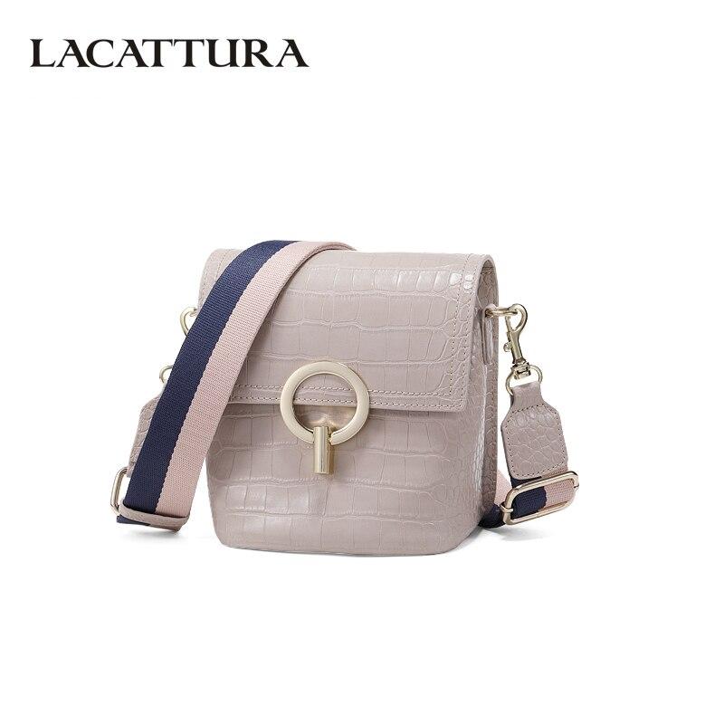 LACATTURA Fashion Women Bucket Bag Luxury Crocodile Pattern Design High Quality Ladies Shoulder Bags Crossbody Bag