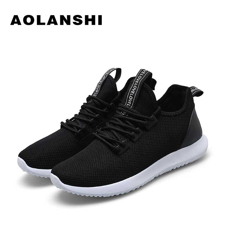 3eb44b3d2 AOLANSHI Breathable Wild Knitting Sports Shoes Mens Non Slip Soles Air Mesh  Shoes Multi Size Lace Up Male Running Shoes 39 44-in Running Shoes from  Sports ...