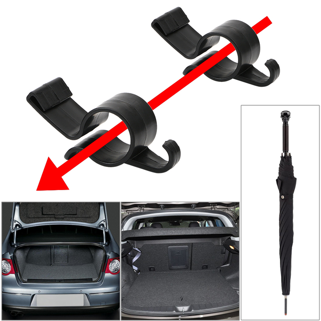 2pcs/set Umbrella Holder  Automobile Trunk Organizer Car Rear Trunk Mounting Bracket Towel Hook for Umbrella Hanging Hook