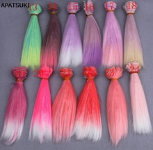 15*100cm Gradient Color DIY Wig High Temperature Wire Long Straight Hair For BJD Dolls DIY Pink Red Rose Green Purple(China)