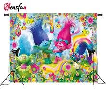 Sensfun Trolls Cupcake Rainbows Photo Backdrops Cartoon Vinyl Cloth Photography Backdrops for Photo Studio 5x3ft