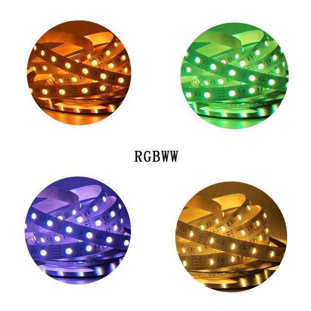 12mm PCB 5M 4w1 5w1 RGB + CCT taśma LED 5050 60 leds/m 5 kolorów w 1 chipie CW + RGB + WW RGBW RGBWW elastyczna taśma oświetleniowa Led 12V 24V