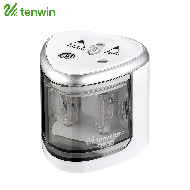 TENWIN Electric Pencil Sharpener Use Battery With Two Holes Electronic Pencil Sharpener For 6-8mm And 9-12mm Pencils 8004