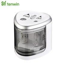 Tenwin электрический точилка для карандашей Применение Батарея с двумя отверстиями электронная точилка для карандашей для 6-8 мм и 9-12 мм карандаши 8004