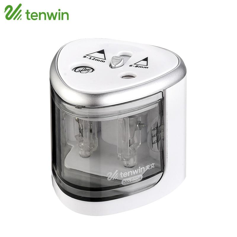 TENWIN Electric Pencil Sharpener Use Battery With Two Holes Electronic Pencil Sharpener For 6-8mm And 9-12mm Pencils 8004