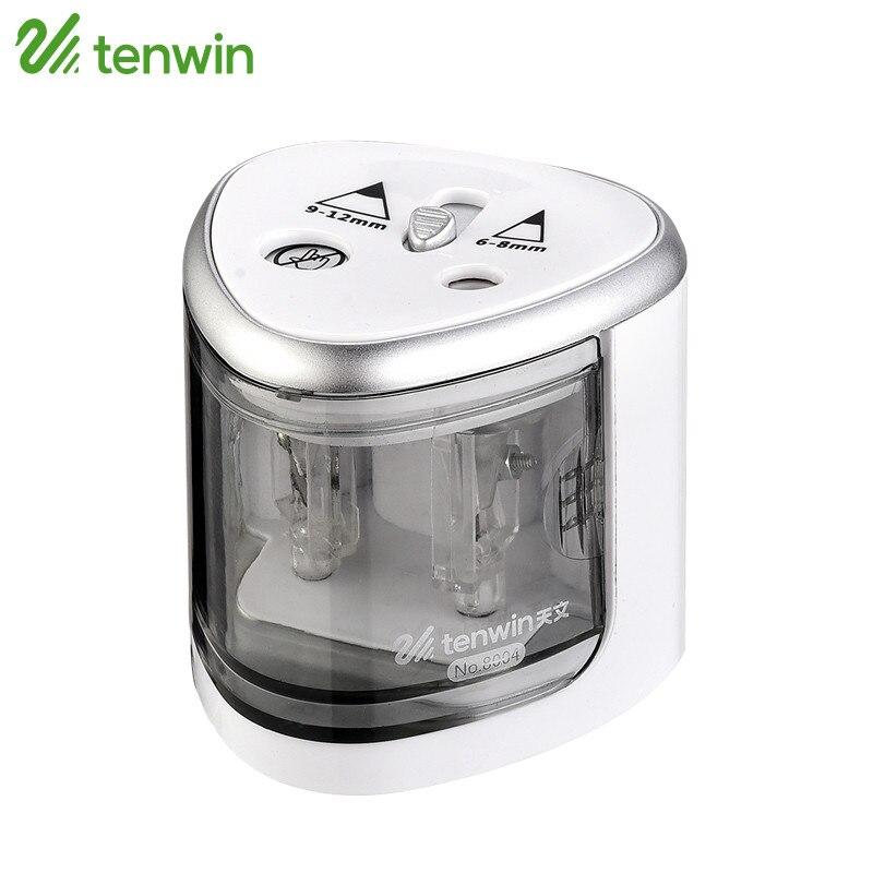 Tenwin sacapuntas eléctrico batería uso con dos agujeros Sacapuntas de lápiz electrónico para 6-8mm y 9- 12mm Lápices 8004