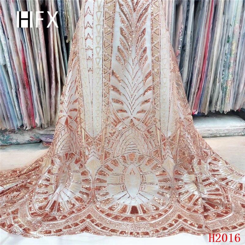 Français maille dentelle tissu de haute qualité luxe dentelle tissu à la main perlé Sequin dentelle nigériane dentelle tissu pour robe de mariée F2016