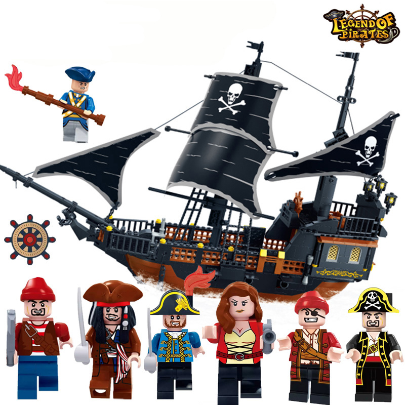 652pcs Pirates Caribbean Black Pearl Ghost Ship large Models Building Blocks Set Educational Toy Birthday Gift Compatible Legoed caribbean warship pirates of the caribbean black pearl ship ghost ship large models building blocks educational birthday gift
