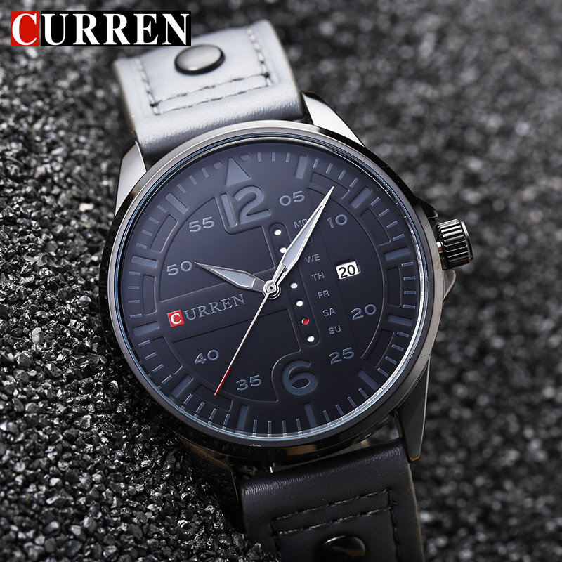 CURREN Luxury Brand Mens Watches Military Sport Wristwatch Blue Leather Strap Date Clock Men Quartz Watch Relogio Masculino 8224 shiweibao cool watch men sport watch men golden big case four time zones military watches date leather strap mens quartz watches