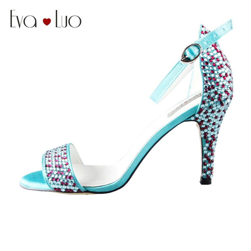 Turquoise Wedding Heels: CHS573 Custom Made Turquoise Crystal Strappy High Heels