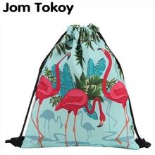 Модна чанта с шнур 3D печат Фламинго Мочила Феминина раница за шнурчета Женска ежедневна раница