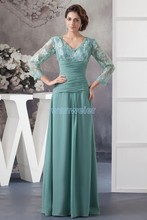 free shipping 2014 new design hot custom color/size gown cap sleeve v-neck long women chiffon Mother of the Bride Dresses
