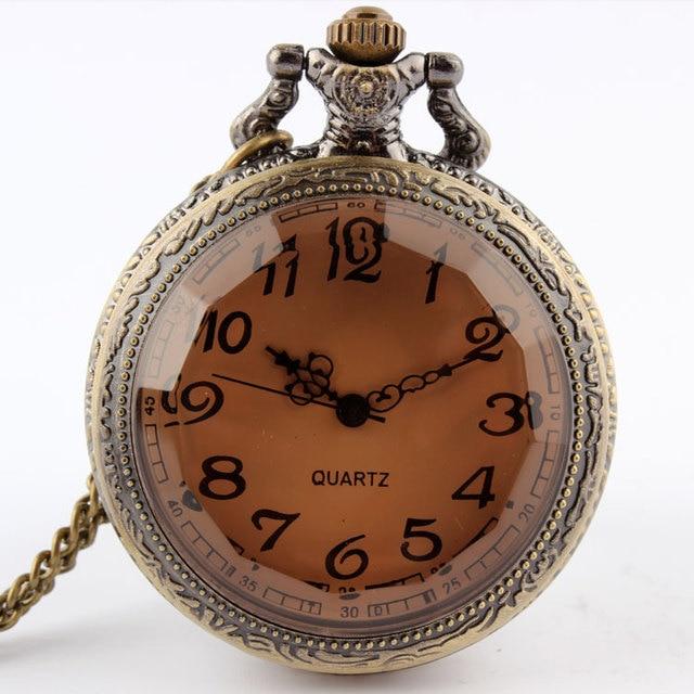 Dark Brown Glass Necklace Quartz Pocket Watch Bronze Chain Men's Gift Fashion pe