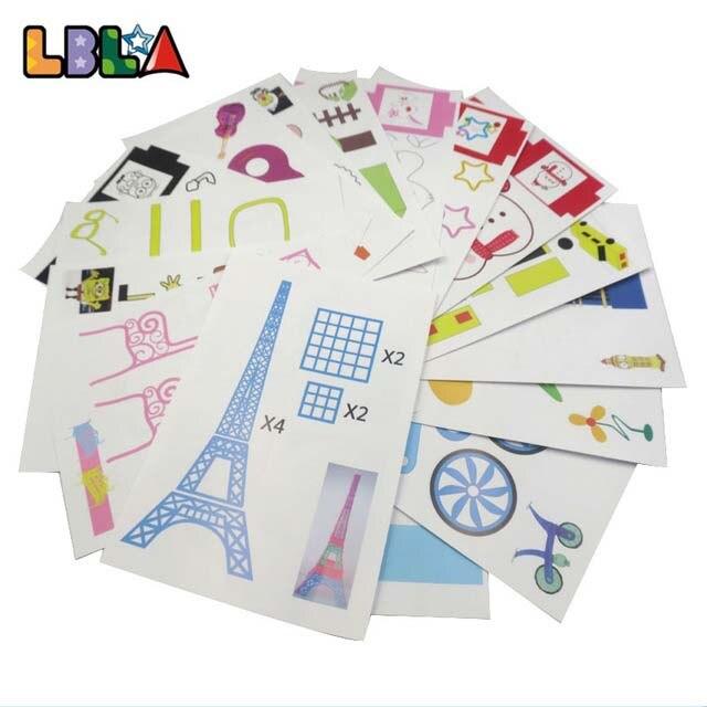 22Pcs DIY 3D Pen Printing Paper Film Graffiti Board Sample Plate 3D Printing Material 44 Patterns For Kids Children Random Sent