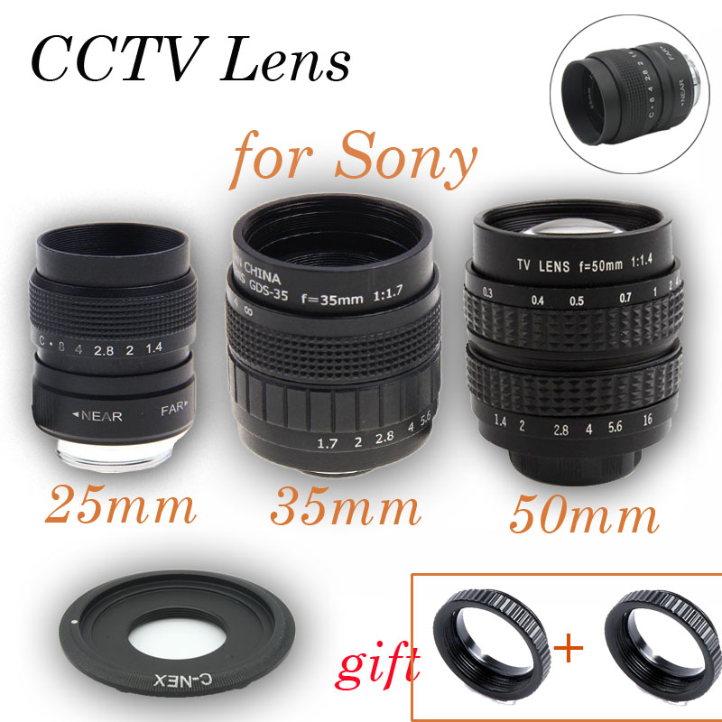3in1 25mm 35mm 50mm CCTV F1.4 TV Movie lens+C Mount Kit for Sony C-NEX E Mount NEX-6 NEX-5R NEX-F3 NEX-7 A6000 A6300 5100 A3000 цена