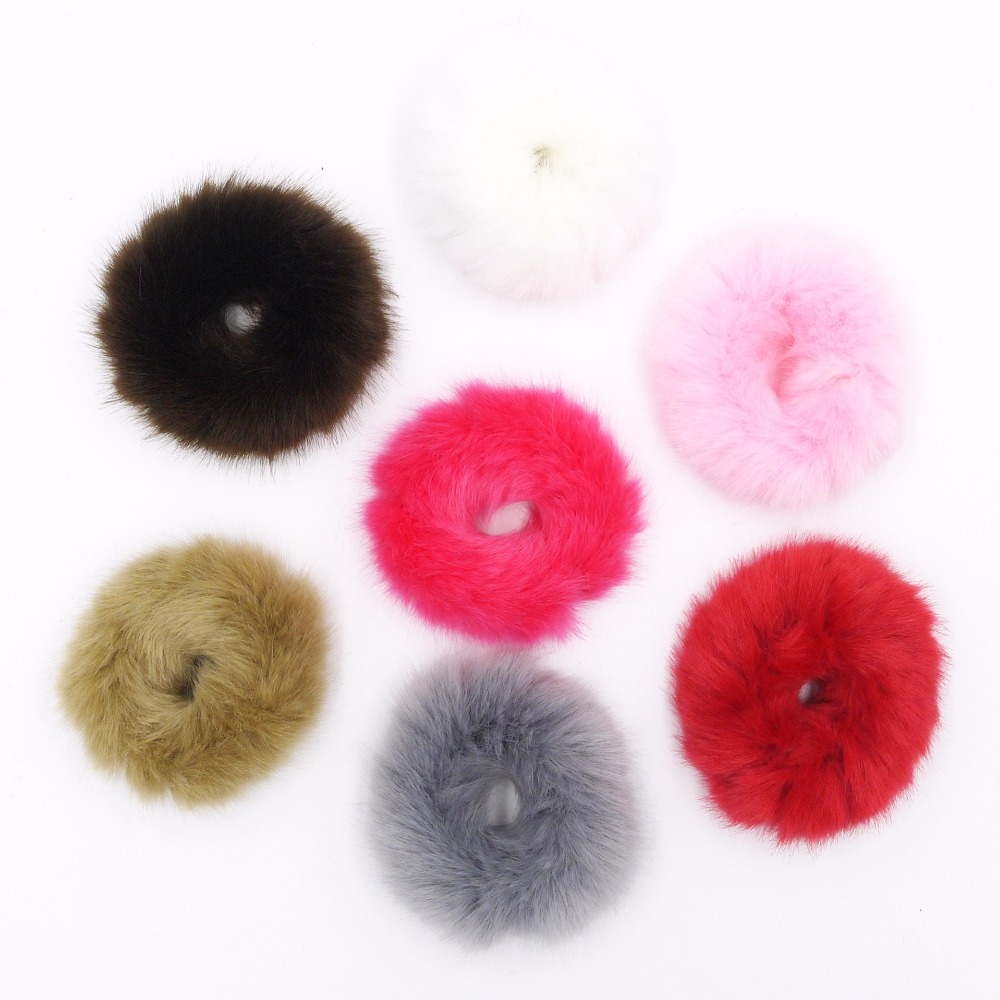 Artificial Rabbit Plush Big Downy Elastic Hair Rubber Band Girls Fashion Hairy Headwear for Women Warm Hair Accessories