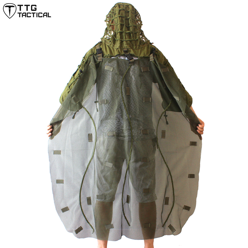 TTGTACTICAL Military Ghillie Hood with Detachable Ghillie Cape Sniper Coat Ghillie Poncho Army Green