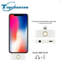 Replacement For iPhone X HOME Button adapter with lightning and 3.5mm Audio Jack Listening Charging At The Same Time