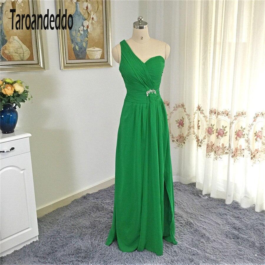 Одно плечо стороны Ruched платье Зеленый шифон с боковыми разрезами Длинные платье подружки невесты Вечернее Платье Vestidos Largos De Fiesta