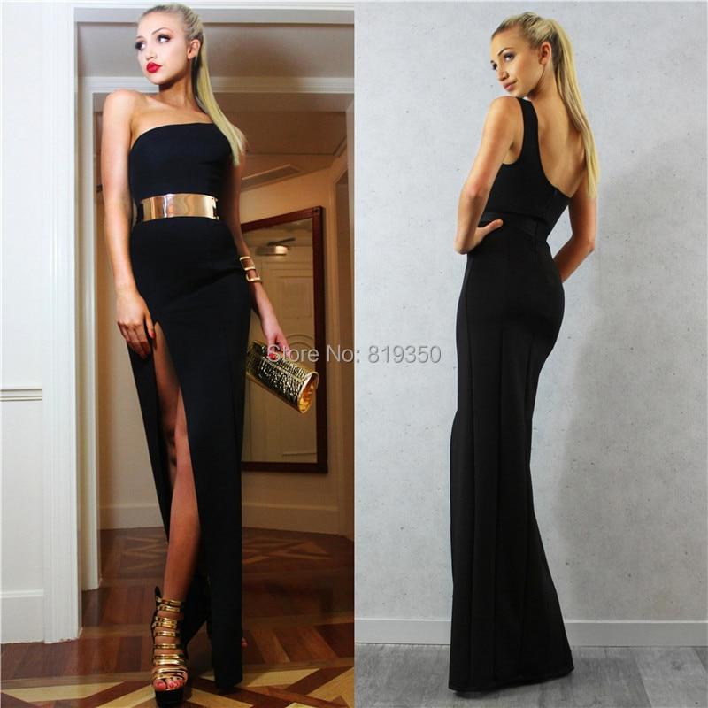 Black and Gold One Shoulder Prom Dress