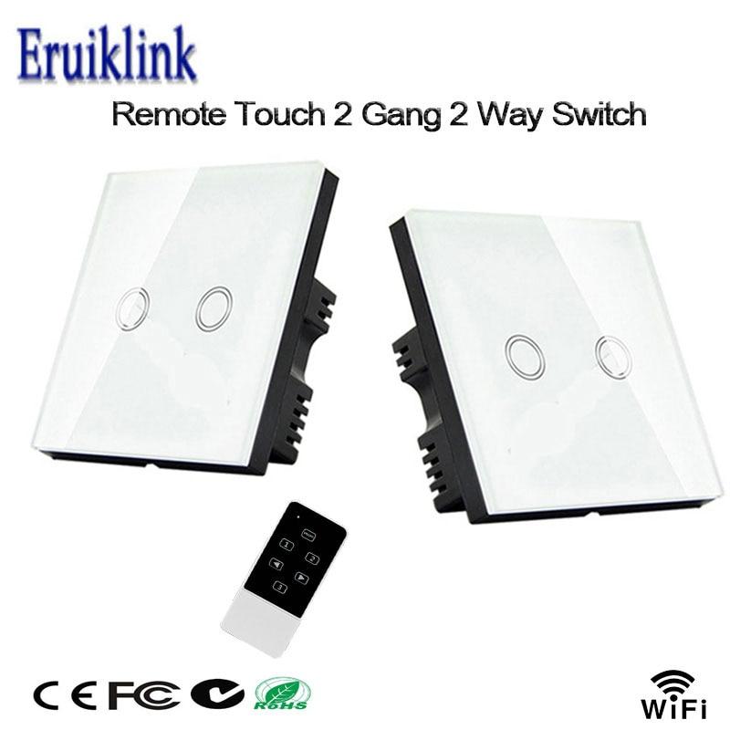 EU Standard 2 Gang 2 Way Crystal Glass paneel Touch RF433 + WiFi juhtimispuldi lüliti Via Broadlink Rm Pro / Geeklink, Smart Home