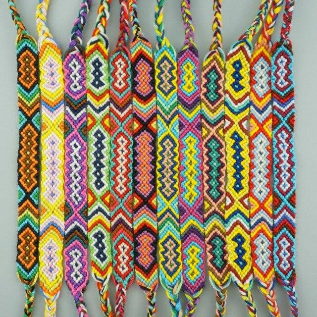 AMIU 12 pcs Bohème Armure Coton Amitié Bracelet Brésilien Tissé Corde  Chaîne Bracelets Faits Main Emballage