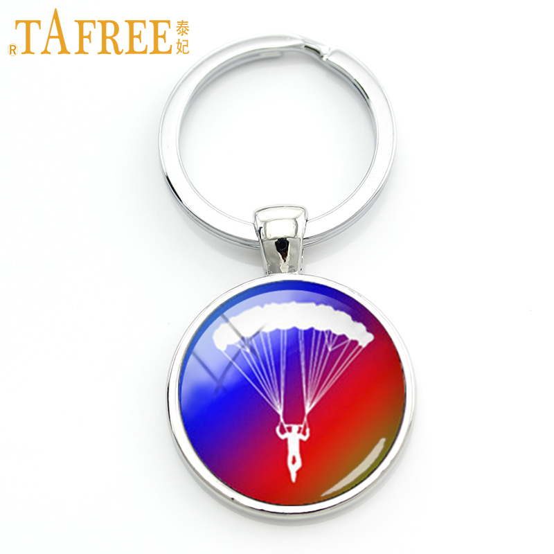 TAFREE Charming bright colorful gift 2017 new daring sports sky diving parachuting key chain go skydiving keychain jewelry KC600