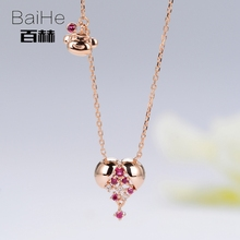 BAIHE Solid 14K Rose Gold 0.03ct Certified H/SI 100% Genuine Natural Diamond Women Trendy Fine Jewelry Elegant GIFT Necklaces