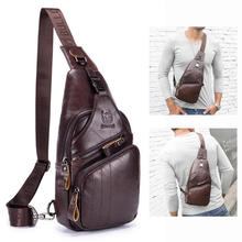 Bullcaptain Genuine Leather Retro Chest Bag Outdoor Leisure Daypack Crossbody small model bag casual messenger for Men