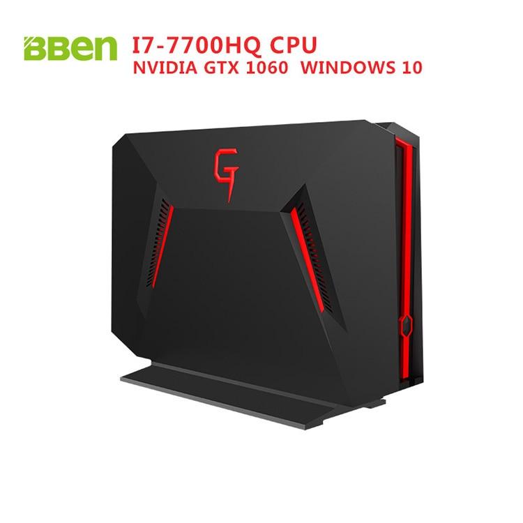 Bben GB01 Gaming Mini PC Desktop Computer Nvidia GTX1060 Graphics I7-7700CPU Windows 10 8GB Ram 128GB SSD Home Office Cyber bar fine shadow 1g gtx460 ashes 384sp 256 high end gaming graphics