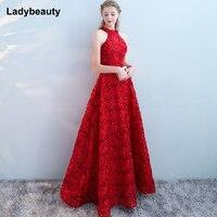 8de315d3dd Pluse Size Red Beading Pleat Silk Long Evening Dresses 2018 Backless Halter  Formal Dress Simpel Evening
