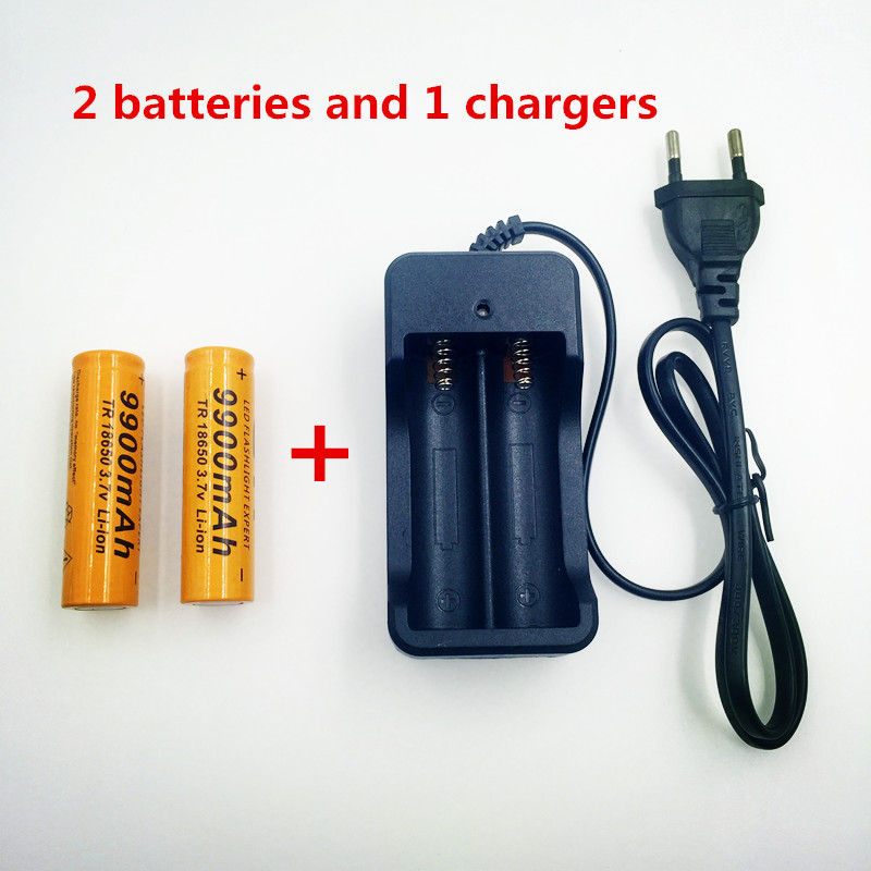 2 Piezas Nuevo 18650 Batera De 3,7 V 9900 Mah Recargable Batera Liion Con Cargador Para Linterna De Led, Batera De Lit Goedkope Verkoop 50%