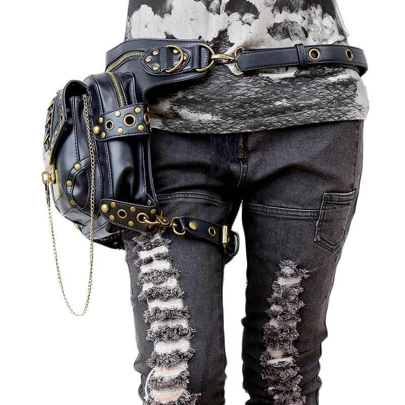 Carteras mujerバッグスチームパンク太ももモーター脚アウトローパック太ももホルスター保護された財布ショルダーリュック財布革女性バッグ