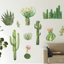 Nordic Style Cactus Wall Sticker Bedroom Cabinets Window Living Room Porch TV Background Decorative Stickers Home Decor Decal(China)