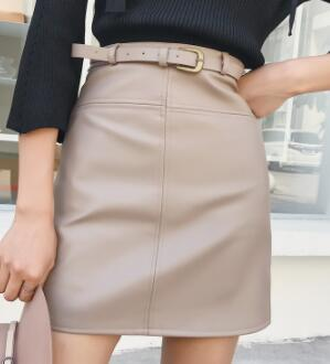 Include Belt PU Leather A-Line Skirt For Women High Waist Office Wear Skirts Female Short Skirt With Belt