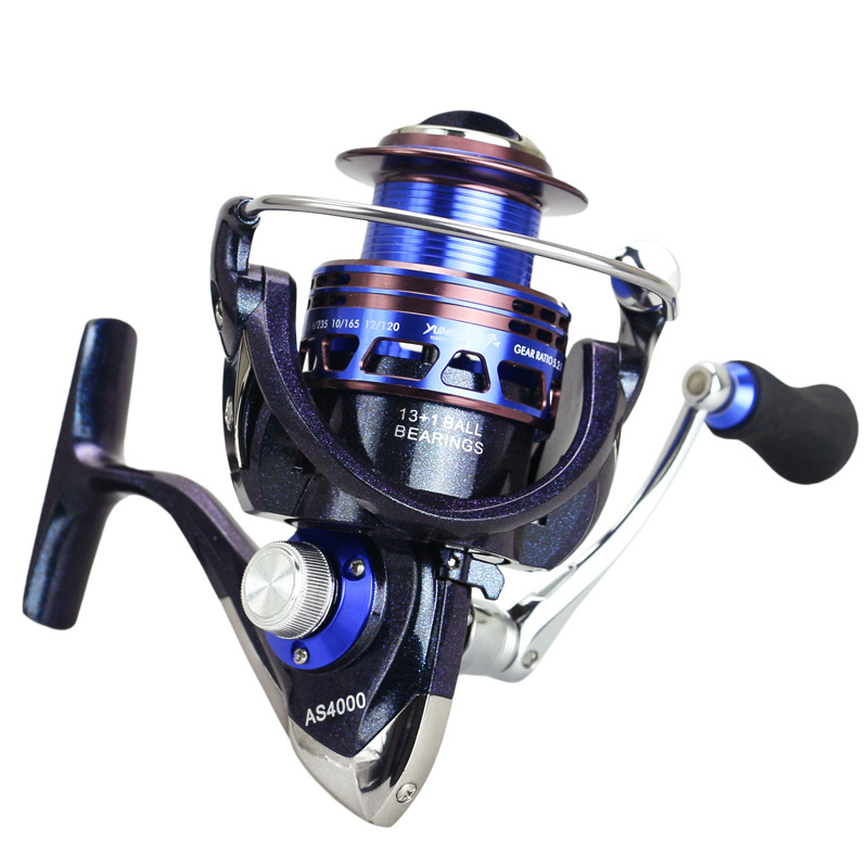 Full Metal Aluminium Alloy Spinning Fishing Reel Gear ratio 4.4:1/5.2:1  Ball bearings 13+1 Chameleon paint Fishing Tackle 3bb ball bearings left right interchangeable collapsible handle fishing spinning reel se200 5 2 1 with high tensile gear red