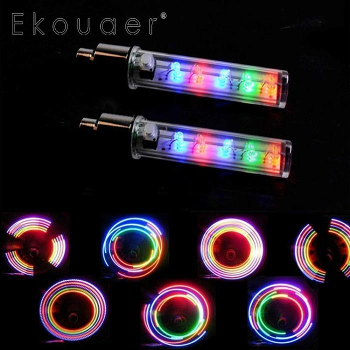 Waterproof Styling Bicycle Decorative Light 5 LEDs Bicycle Tire Valve Cap Tube Lights 7 Flash Function Emergency Warning Light