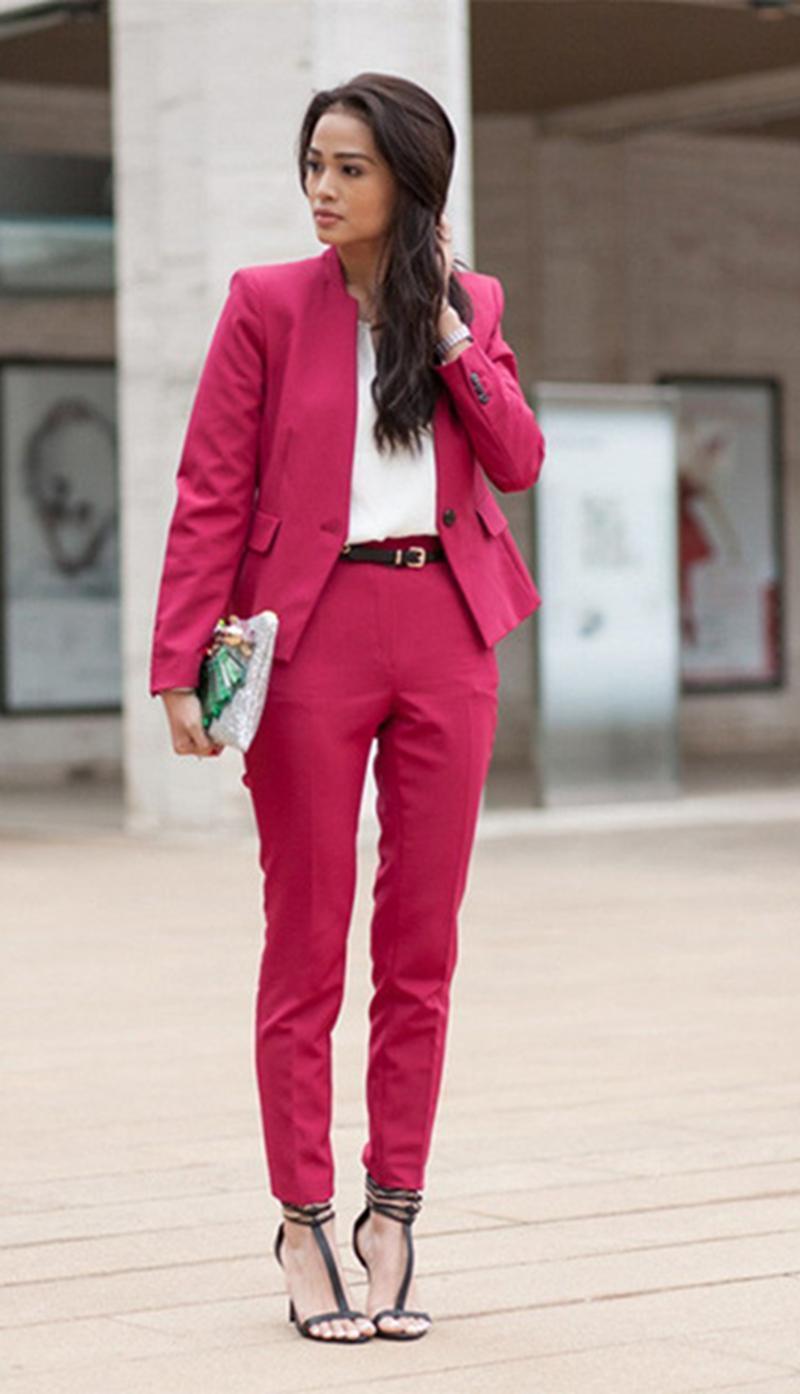New Hot Pink Business Women Pants Suit Custom Size Ladies Wedding